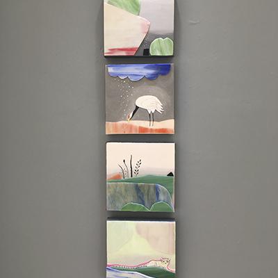 María José Seáñez, Poliptico 20 x 20 cm cada uno. Acrílico sobre tela sobre madera y vidrio