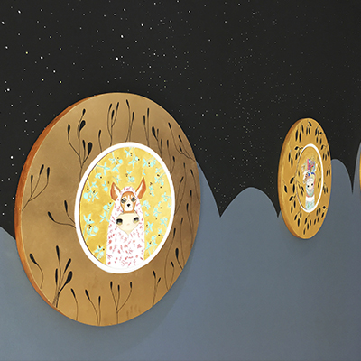 S/T, 67 diametro, acrílico sobre tela y resina poliéster, 2017